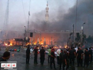 Brotherhood set fire in Rabaa Mosque before leaving