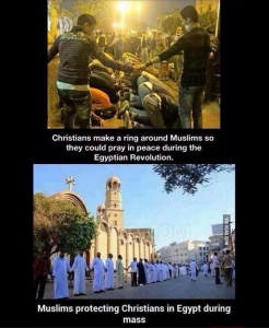 Egyptian Muslims and Christians protecting each other during prayers in Egypt.