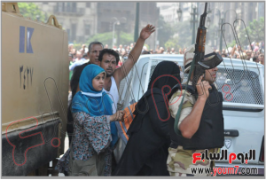 Egyptian military and police forces keeping away the crowds from revenging from brotherhood 17 august 2013
