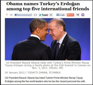 Erdogan is killing his own people and opressing them and no wonder he is one of Obama's best close friends