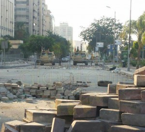 Muslim Brotherhood destroyed the side walk in rabaa square