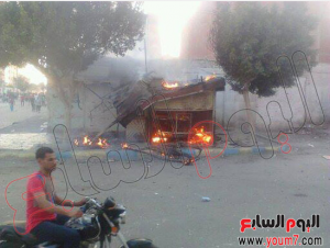 picture shows a poor man Kiosk was burned by Brotherhood supporters 30 August 2013