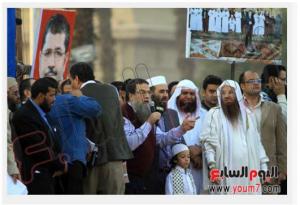Assassins of President Anwar Sadat Tarek and Aboud Elzomor leading pro Morsi demonstration