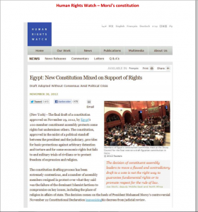 Human Rights Watch Rgypt constitution mixed on support of Rights Brotherhood regime period