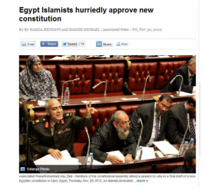 Islamist hurried to approve the new brotherhood constitution which was only serving the brotherhood  organization