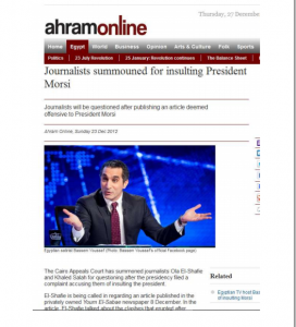 Journalists and Hosts programs sumound for insulting President Morsi