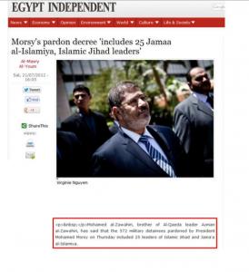Morsy's pardon decree includes 25 Islamist extremist and Islamic Jihad Leaders Militias