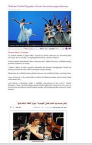 Muslim brotherhood prohibited ballet dancing and Opera