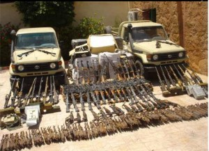 On 18 July 2013 Military managed to arrest terrorists and smugglers in the west military area who were using a secret store in one of the caves in the south military road with around 10 km, which contained (2) vehicle Toyota Land Cruiser Beige loaded with the following: - - Number (142) automatic rifle and a number (17) Kalashnikov machine gun and (6) a sniper rifle FN - (1500) safe automatic rifle and a number (14000) rounds (7.62 x 39) mm - (1800) rounds (7.62 x 51) mm and (150) pocketknife and the number (688 000) disk anesthetic