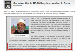 Qaradawy calling USA to invade and Attack Syria