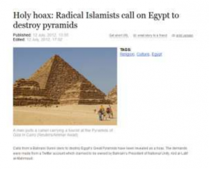 Radical Islamist call on Egypt to destroy the Pyramids