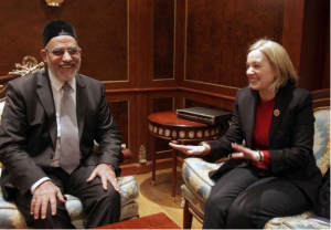 "The American ambassador in Egypt during one of its visits to the supreme leader of Muslimbrothers. Many foreign delegations used to visit different leaders of Muslim brothers who had no official function within the ""democratic"" system in Egypt."