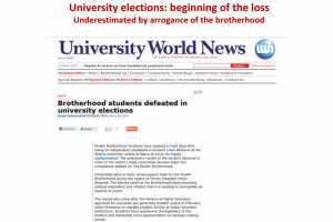 University elections beginning of the loss of muslim brotherhood in egypt