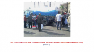 public water tanks were mobilized to serve pro-Morsi demonstrations