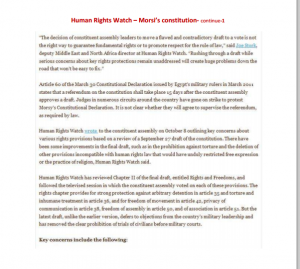 report 1 on brotherhood constitution Human Rights Watch