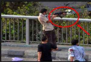 Brotherhood firing live ammunitions in their armed demonstrations Cairo Egypt - 6 October Bridge