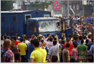 Brotherhood supporters attacked Police truck transferring prisoners Cairo Egypt Nasr City Area