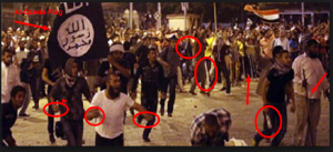 MB armed violent protests Brotherhood supporters carrying Al Qaeda Flag of Osama Bin Laden