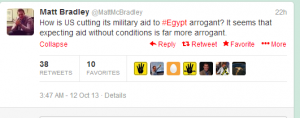 Matt Mc Bradley Wall Street Journal telling lies about Egyptians reaction to US Aid Cut