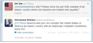 Mohamed Elibiary a senior US Dept of Homeland Security advisor said that America is an Islamic country