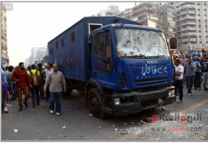 Muslim Brotherhood damaging police trucks and tried to release prisoners Cairo Egypt