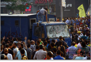 Muslim Brothrhood supporters attacked police truck in Cairo Egypt