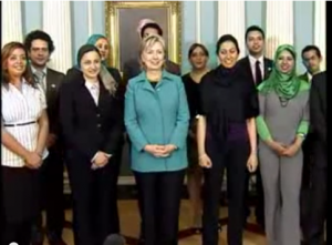 Hilary Clinton with some of 6 of April members in 2009