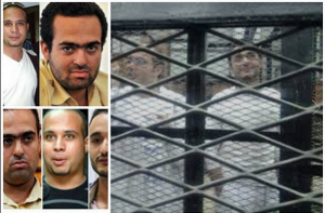 Mohamed Adel and Ahmed Maher members of 6 April Movement in Egypt and Ahmed Doma political activist