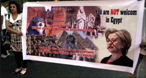 Egyptians do not welcome hilary clinton who support terrorists in Egypt