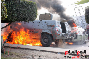 Military troop carriers burned by muslim brotherhood terrorists
