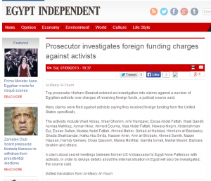 Prosecutor investigates foreign funding charges against Egyptian political activists