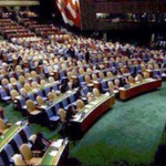 Erdogan of Turkey speaks to empty chairs in the 69th UN assembly