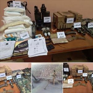 Seized on 13/1/2015: Military uniforms - telescope - ammunition - Jihad books - explosive belts - mortar equipment