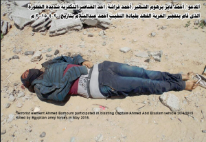 Terrorist element Ahmed Barhoum killed in Sinai by Egyptian army in May 2015‬