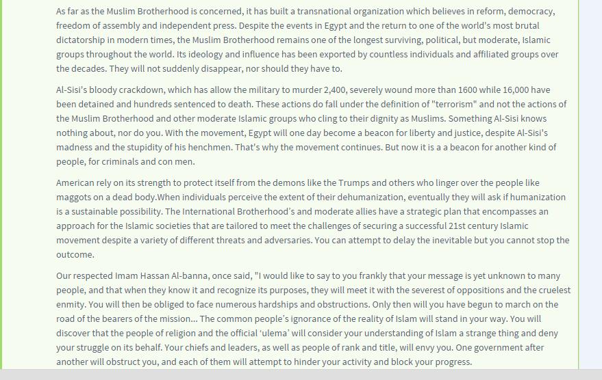 Khalilah Sabra supports the muslim brotherhood terrorist organiztion 2