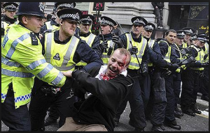 British police violence against protests